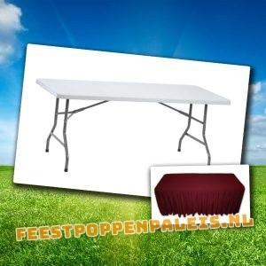 buffettafel tafelkleed bordeaux rood - 182 x 75 x 74 cm